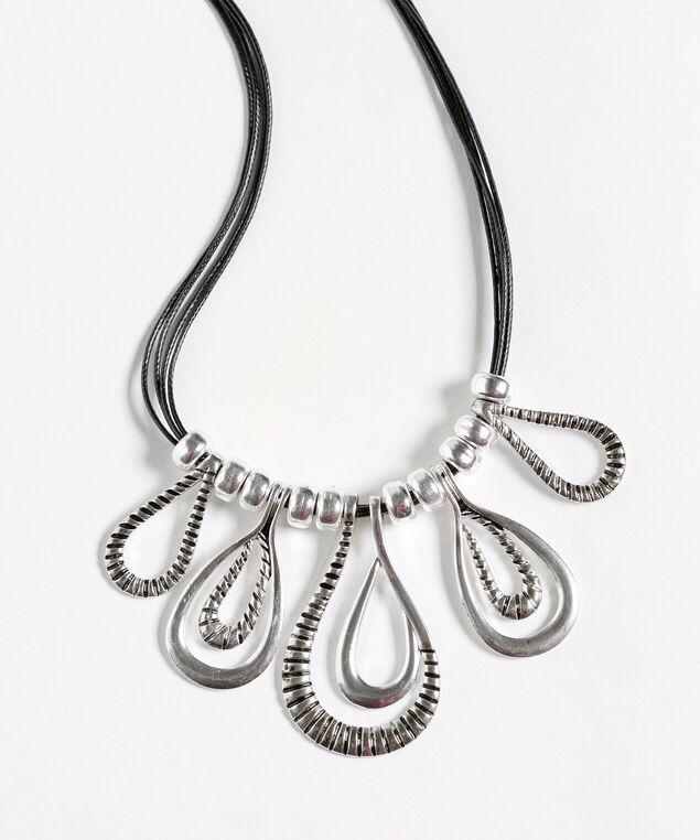 Silver Teardrop Short Necklace, Silver/Black, hi-res