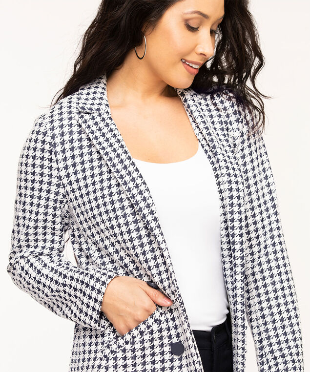 Navy Houndstooth Long Blazer, Navy/White