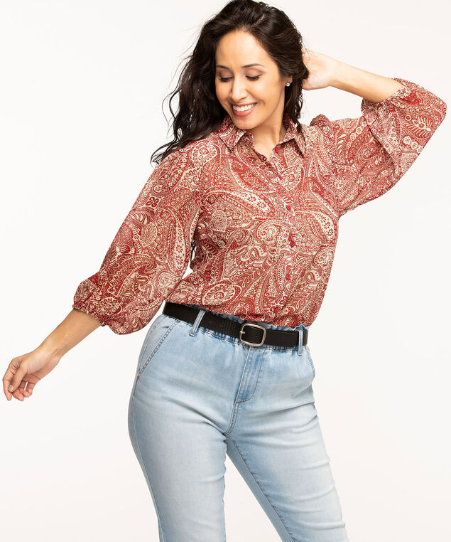 Button Front Paisley Print Chiffon Blouse, Red/Camel