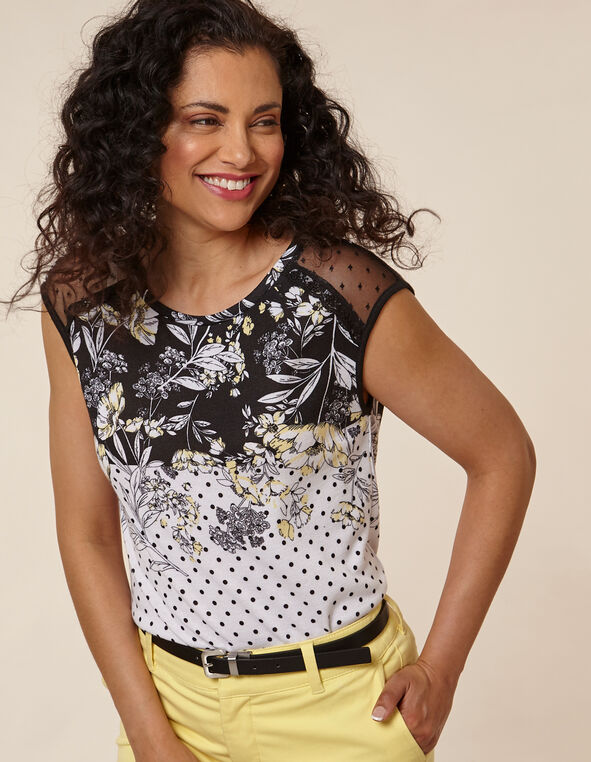 Floral Dot Lace Hacchi Top, Black/Yellow, hi-res