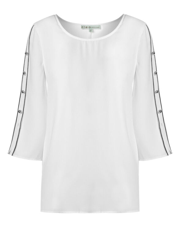 White Piped Sleeve Blouse, White, hi-res