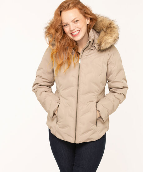 Feather Down Puffer Coat, Stone, hi-res