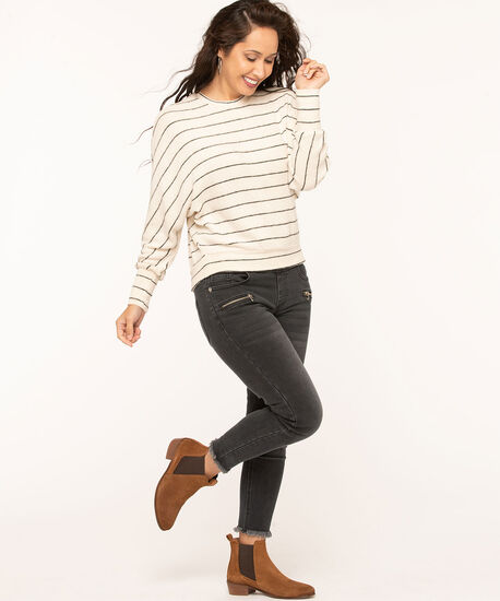 Ivory Stripe Dolman Sleeve Top, Ivory/Black, hi-res