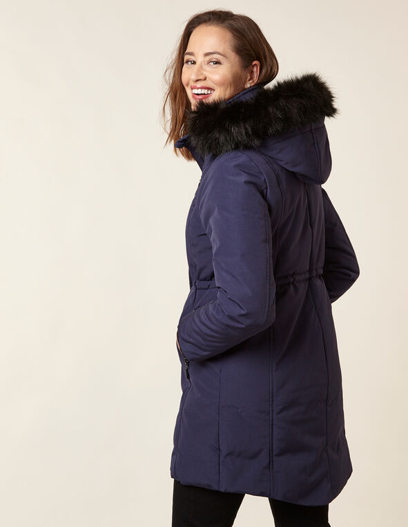 Navy Anorak Faux Down Coat, Navy, hi-res