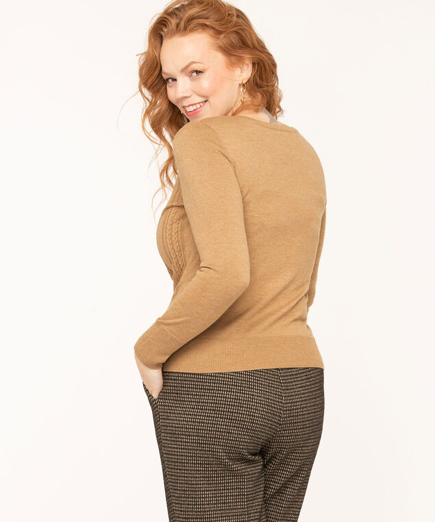 Cable Stitch Pullover Sweater, Camel