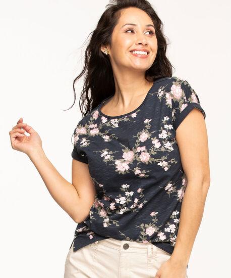 Patterned Cotton Slub Tee, Navy Floral, hi-res