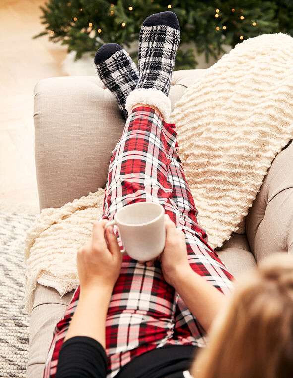Black Plaid Cozy Lounge Socks, Black, hi-res