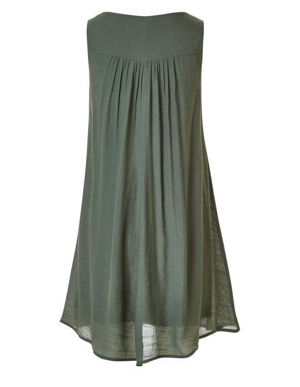 Olive Embroidered Gauze Dress, Olive, hi-res