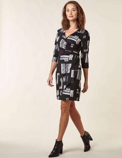 Black Patterned Wrap Styled Dress, Black, hi-res