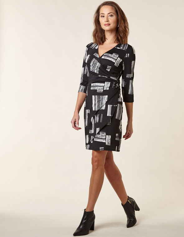Black Patterned Wrap Styled Dress, Black, hi-res