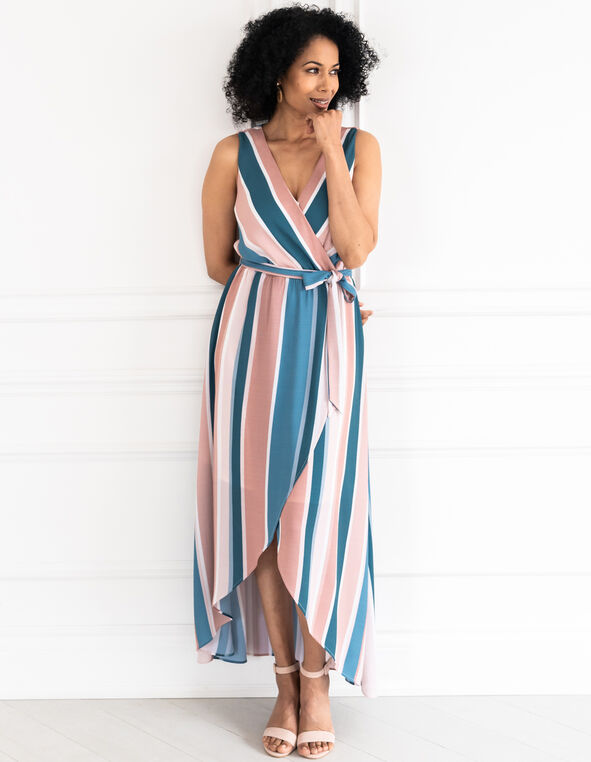 Pink Striped Chiffon Maxi Dress, Pink/Turquoise, hi-res