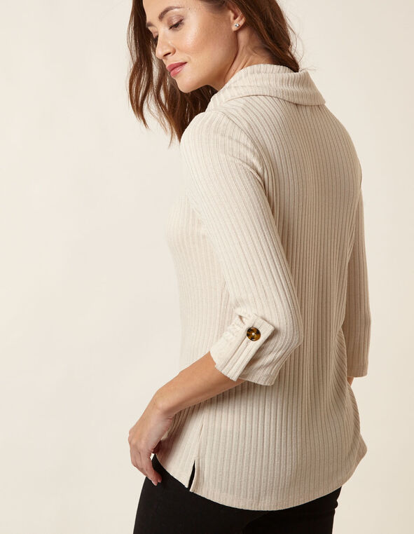 Oatmeal Hacchi Cowl Neck Top, Natural