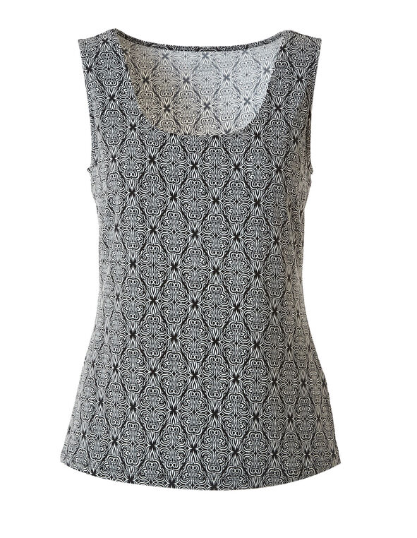 Ivory Print Essential Layering Tank, Ivory, hi-res