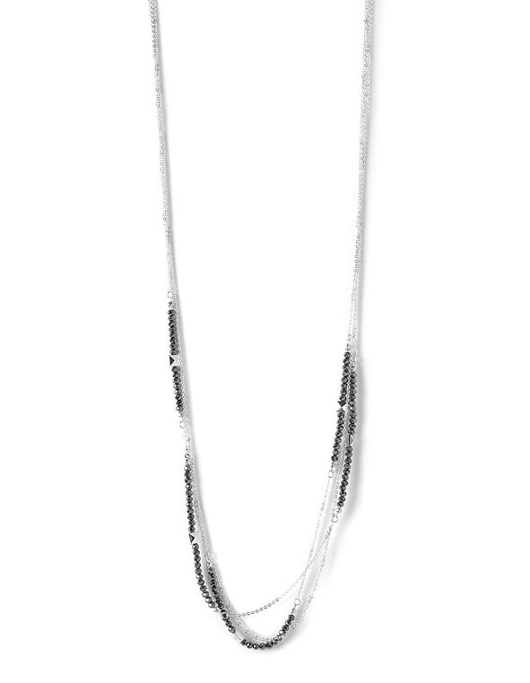 Silver Faceted Stone Neckalce, Silver, hi-res