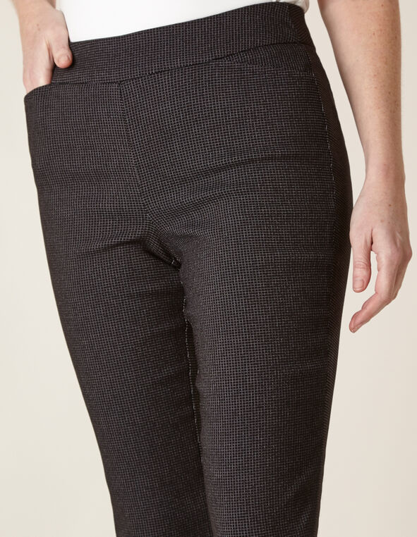 Black Patterned Bootcut Pant, Black, hi-res