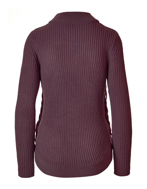 Plum Rib Knit Turtleneck Sweater, Plum, hi-res
