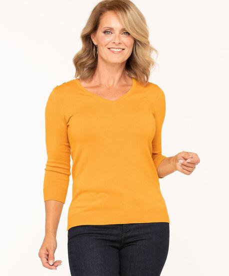 V-Neck Button Shoulder Sweater, Gold, hi-res