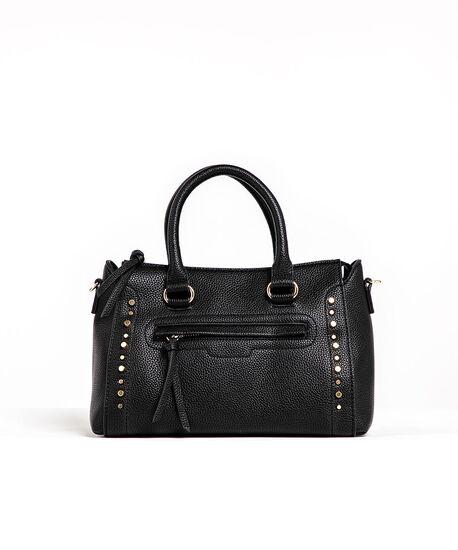 Black Gold Studded Handbag, Black/Gold Metal, hi-res