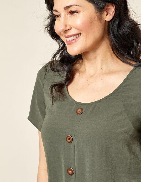 Olive Wood Button Blouse, Green/Olive, hi-res