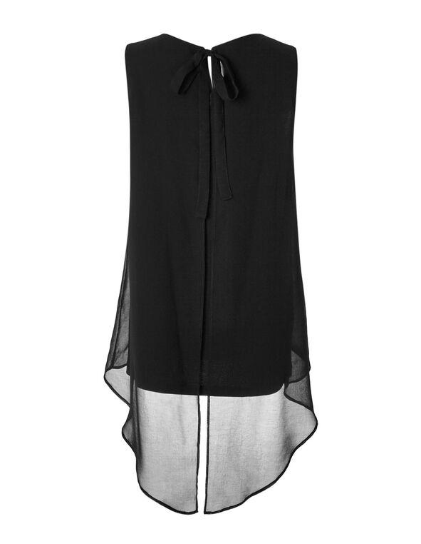 Black Bow Tie Back Blouse, Black, hi-res