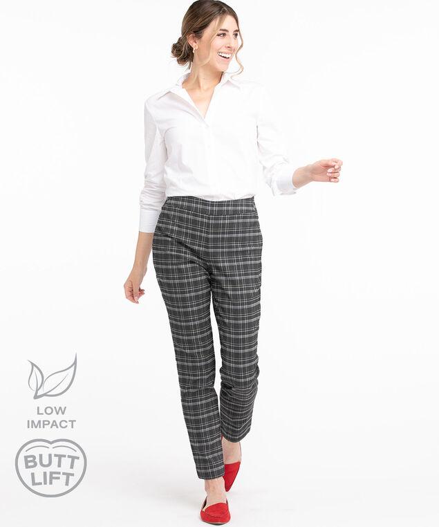 Low Impact Butt Lift Slim Pant, Charcoal Plaid