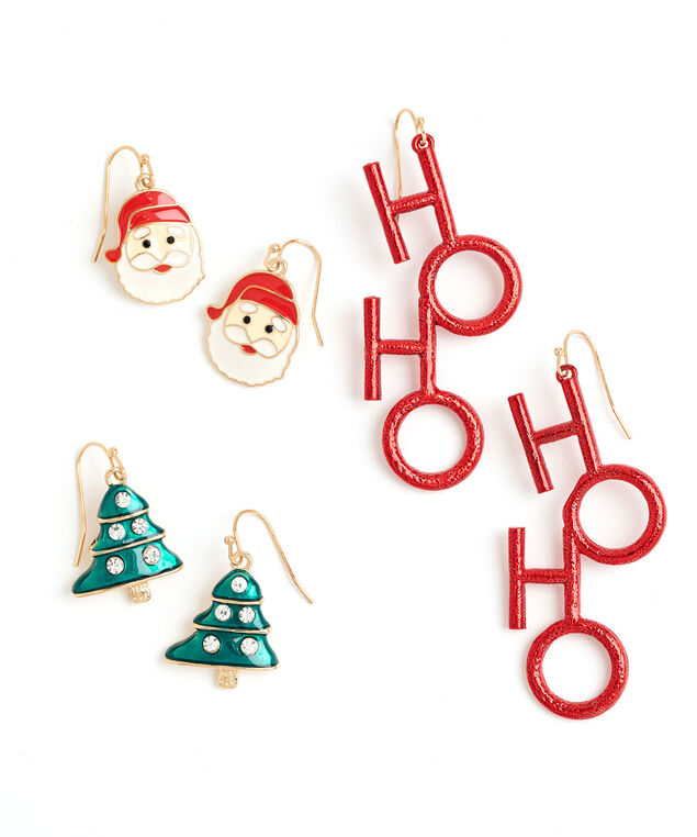 Christmas Drop Earring 3-Pack, Gold