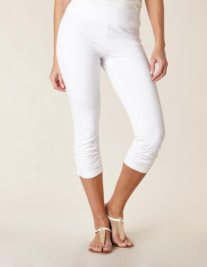 White Ruched Capri Legging, White, hi-res