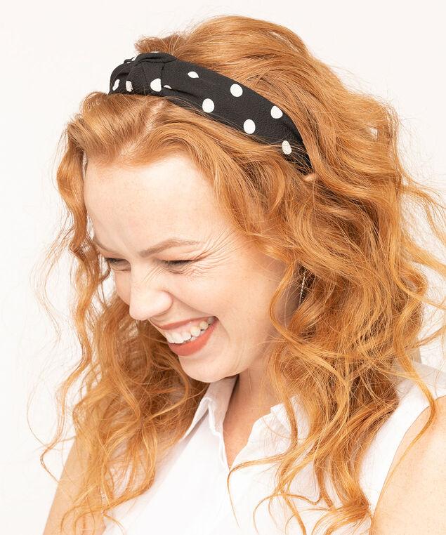 Polka Dot Knotted Headband, Black/White, hi-res