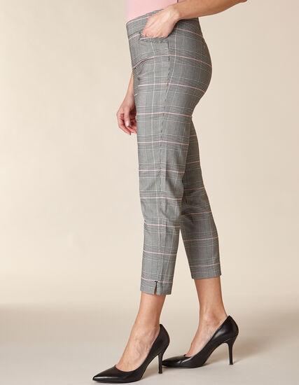 Grey Plaid Slim Ankle Pant, Grey/Rose, hi-res