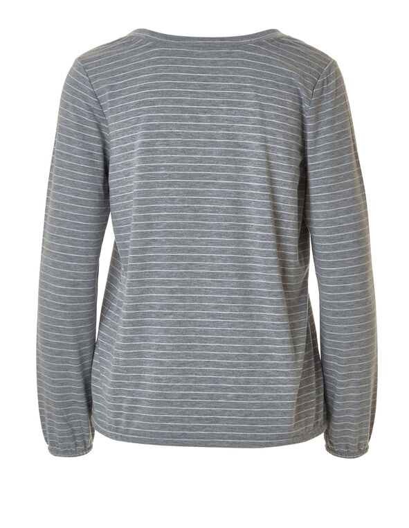 Grey Striped French Terry Top, Grey, hi-res