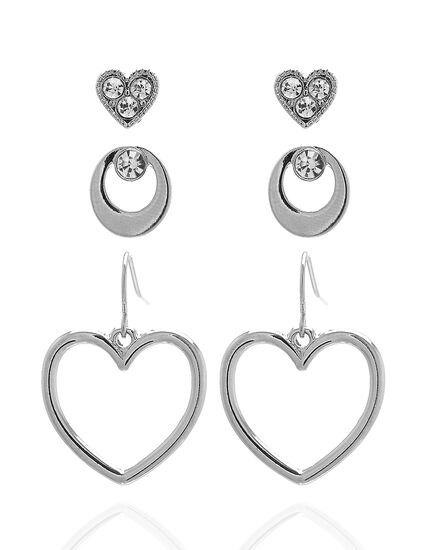 Heart Trio Earring Set, Silver, hi-res