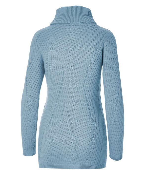 Blue Turtleneck Sweater, Blue, hi-res