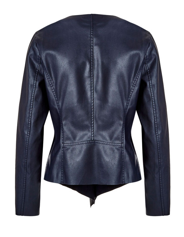 Navy Open Front Faux Leather Jacket, Navy, hi-res