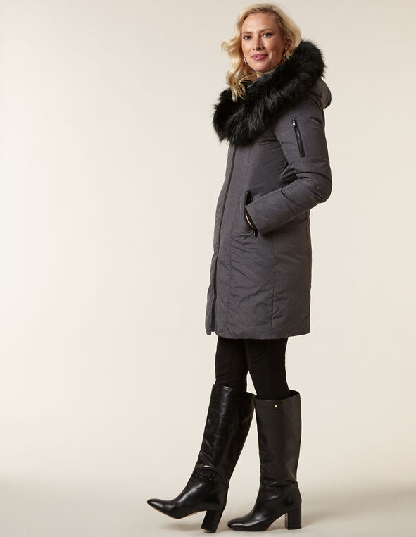 Charcoal Down Asymmetrcal Coat, Charcoal, hi-res