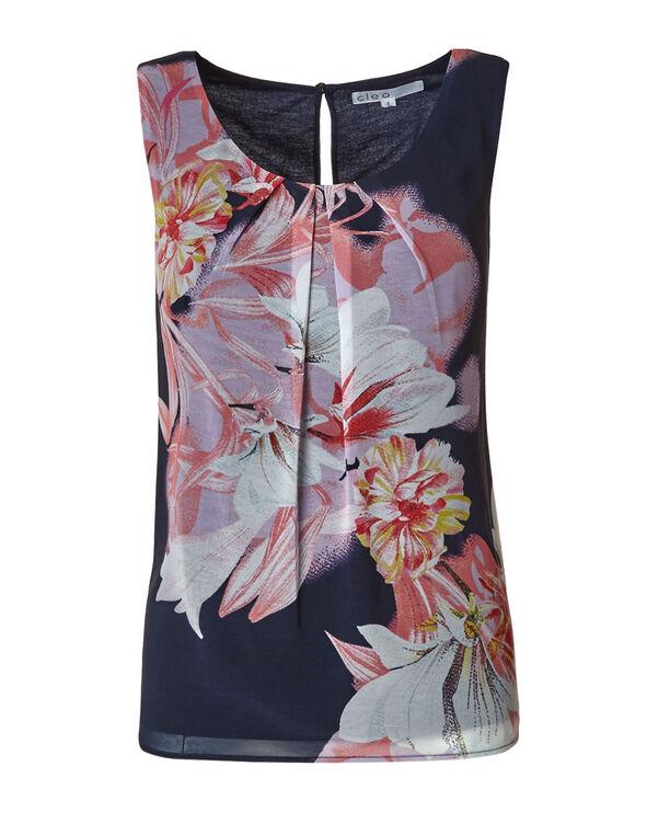 Summer Navy Floral Print Blouse, Summer Navy, hi-res