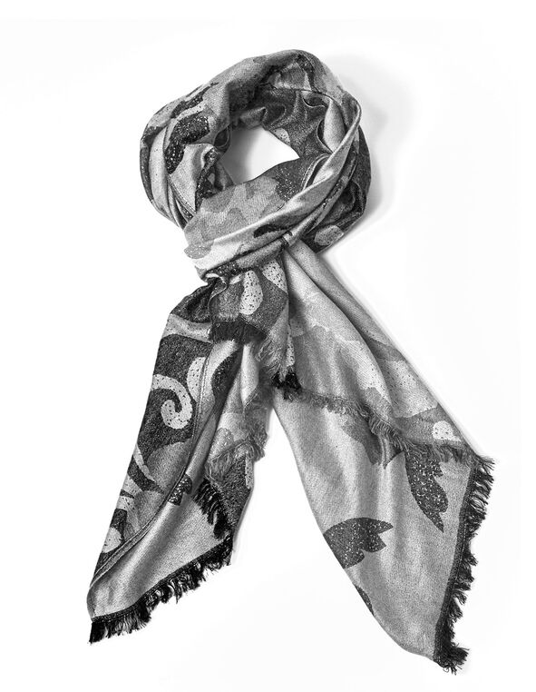 Grey Floral Blocked Pashmina Scarf, Grey, hi-res
