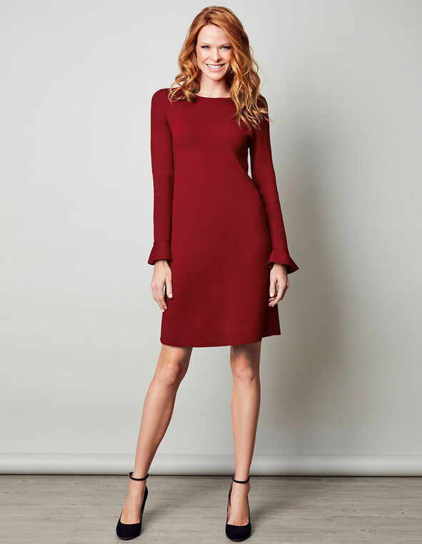 Red Sweater A-Line Dress, Red, hi-res