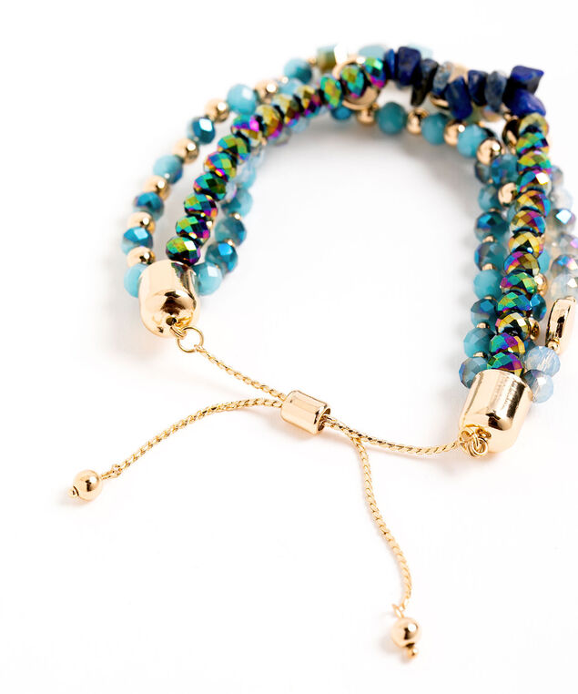 Adjustable Beaded Bracelet, Blue