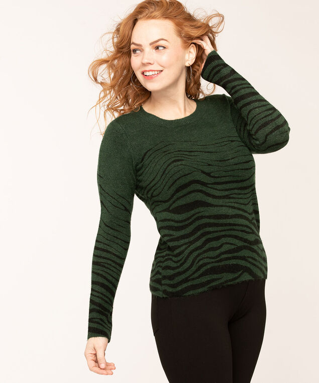 Forest Green Zebra Print Sweater, Forest Green/Black, hi-res
