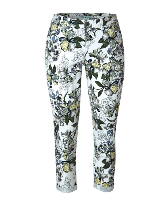 White Floral Cotton Chino Ankle Pant, White/Green, hi-res