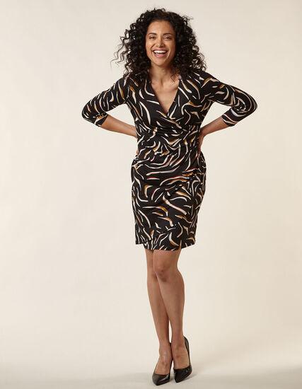 Black Printed Wrap Styled Dress, Mustard, hi-res