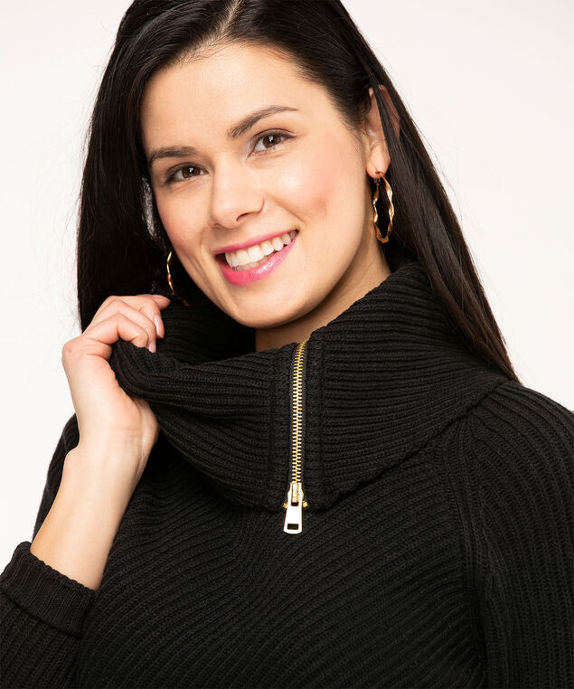 Black Zipper Cowl Neck Sweater, Black