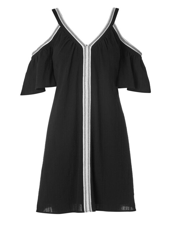 Black Cold Shoulder Cotton Dress, Black, hi-res