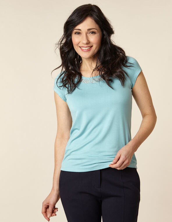 Light Blue Lace Cap Sleeve Top, Blue/Light Blue, hi-res