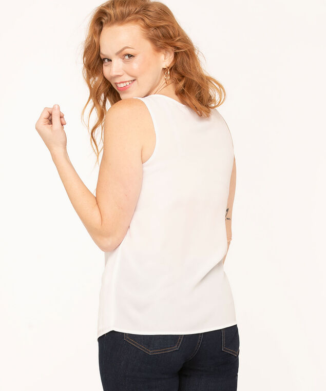 Sleeveless Woven Blouse, White, hi-res
