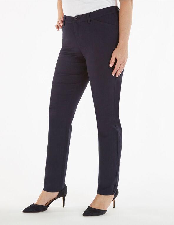 Navy Long Butt Lift Slim Pant, Navy, hi-res