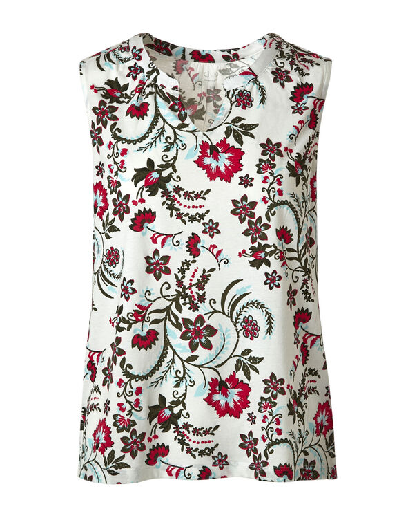 Hot Pink Floral Sleeveless Tee, Ivory/Hot Pink, hi-res