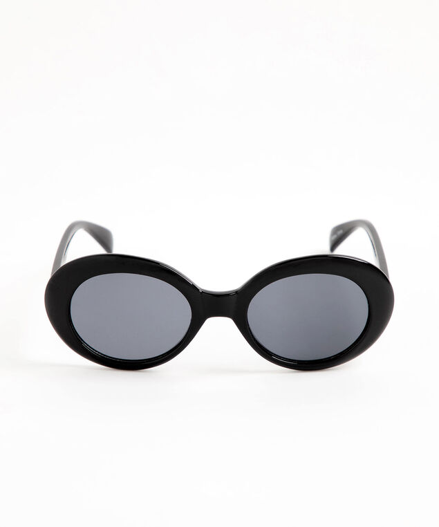 Round Black Sunglasses, Black