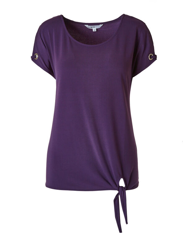 Purple Tie Hem Top, Purple, hi-res