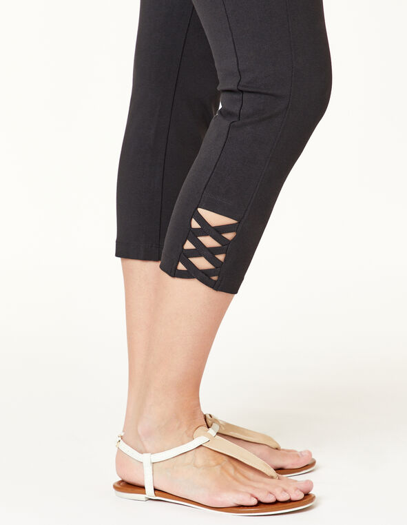 Black Criss Cross Capri Legging, Black, hi-res